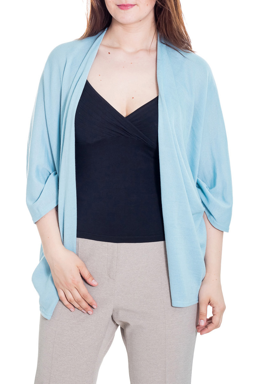 КардиганКардиганы<br>Однотонный кардиган свободного силуэта с рукавами 3/4. Модель выполнена из приятного трикотажа. Отличный выбор для повседневного гардероба.  Цвет: голубой  Рост девушки-фотомодели 180 см<br><br>По материалу: Трикотаж<br>По рисунку: Однотонные<br>По силуэту: Свободные<br>По стилю: Повседневный стиль<br>Рукав: Рукав три четверти<br>По сезону: Осень,Весна<br>По длине: Средней длины<br>Размер : universal<br>Материал: Трикотаж<br>Количество в наличии: 5