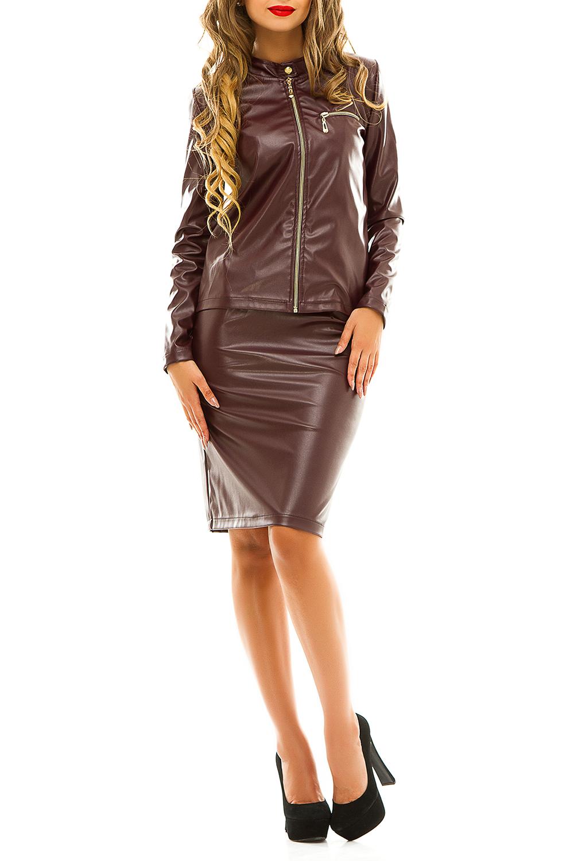 КостюмКостюмы<br>Стильный и практичный костюм — это действительно стоящая находка для дождливой осени или теплой зимы. Прямой крой и строгость в линиях, а также юбка средней длины намекает на деловой стиль. Однако такой предмет гардероба будет уместен и в обстановке офиса, и на праздничной вечеринке. Куртка имеет подкладку и застегивается на молнию. Также запирается и нагрудный кармашек. Прямая классическая юбка снабжена потайной молнией. Оба элемента костюма выполнены из экокожи. Этот материал практичен, не пропускает влагу, долго носится, и лоялен к перепадам температур осеннего сезона. Не меняет своей структуры, когда действительно тепло, и даже в мороз она не дубеет, отсутствуют какие-либо признаки деформации или растрескивания. Еще один плюс  материал не имеет запаха и абсолютно гипоаллергенный. Так как экокожа все-таки синтетика, краску он держит лучше, чем натуральные материалы. Со временем этот костюм не потускнеет, и будет долго радовать вас свежим, насыщенным цветом.  В изделии использованы цвета: коричневый  Рост девушки-фотомодели 170 см.<br><br>Воротник: Стойка<br>По длине: До колена<br>По рисунку: Однотонные<br>По силуэту: Приталенные<br>По стилю: Байкерский стиль,Молодежный стиль,Повседневный стиль<br>По форме: Костюм двойка,Юбочный костюм<br>По элементам: С отделочной фурнитурой,С разрезом<br>Разрез: Короткий<br>Рукав: Длинный рукав<br>По сезону: Осень,Весна<br>Размер : 42<br>Материал: Искусственная кожа<br>Количество в наличии: 1