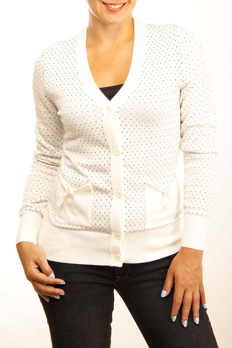КардиганКардиганы<br>Кардиган из нежного трикотажа — универсальная вещь в гардеробе каждой женщины. С V- вырезом горловины, длинные рукава, центральная застежка на пуговицы, модель украшена накладными карманами.  Цвет: белый, черный  Ростовка изделия 170 см.  Парметры изделия: 40 размер - обхват груди 74-77 см., обхват талии 60-62 см. 42 размер - обхват груди 78-81 см., обхват талии 63-65 см. 44 размер - обхват груди 82-85 см., обхват талии 66-69 см. 46 размер - обхват груди 86-89 см., обхват талии 70-73 см. 48 размер - обхват груди 90-93 см., обхват талии 74-77 см. 50 размер - обхват груди 94-97 см., обхват талии 78-81 см. 52 размер - обхват груди 98-102 см., обхват талии 82-86 см. 54 размер - обхват груди 103-107 см., обхват талии 87-91 см. 56 размер - обхват груди 108-113 см., обхват талии 92-96 см. 58/60 размер - обхват груди 114-119 см., обхват талии 97-102 см. 62 размер - обхват груди 120-125 см., обхват талии 103-108 см.<br><br>Горловина: V- горловина<br>Застежка: С пуговицами<br>По материалу: Трикотаж,Хлопок<br>По рисунку: В горошек,Цветные,С принтом<br>По сезону: Весна,Всесезон,Зима,Лето,Осень<br>По силуэту: Приталенные<br>По стилю: Повседневный стиль<br>По элементам: С карманами,С манжетами<br>Рукав: Длинный рукав<br>По длине: Средней длины<br>Размер : 48<br>Материал: Трикотаж<br>Количество в наличии: 1