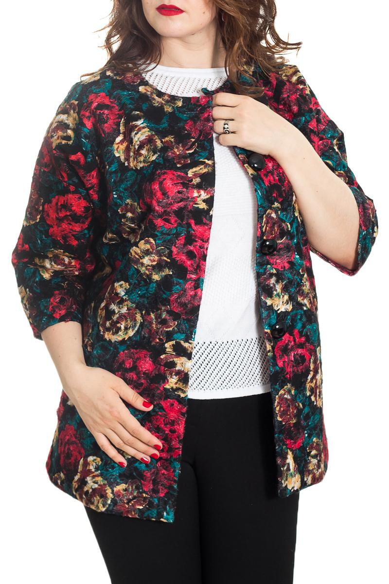 ПальтоЖакеты<br>Очаровательное женское пальто с круглой горловиной и рукавами 3/4. Модель выполнена из пальтовой ткани. Изделие можно носить как летнее пальто. Отличный вариант для повседневного гардероба.  Цвет: черный, морская волна, фуксия и др.  Рост девушки-фотомодели 180 см<br><br>Горловина: С- горловина<br>Застежка: С пуговицами<br>По материалу: Тканевые<br>По рисунку: Растительные мотивы,С принтом,Цветные,Цветочные<br>По сезону: Лето,Осень,Весна<br>По силуэту: Полуприталенные<br>По стилю: Повседневный стиль<br>Рукав: Рукав три четверти<br>По длине: Средней длины<br>Размер : 50-52<br>Материал: Пальтовая ткань<br>Количество в наличии: 1