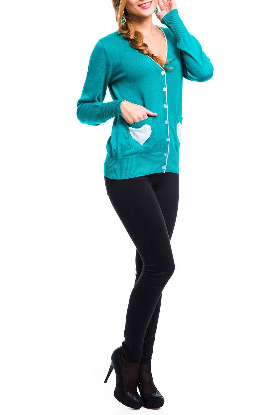 ЖакетКардиганы<br>Ультрамодный жакет с длинным рукавом и V-образным вырезом. Спереди модель декорирована застежкой на пуговицы и накладными карманами. Низ изделия и манжеты выполнены по технологии в рубчик. Оригинальным украшением служат контрастный рисунок на карманах и кант по горловине.  В изделии использованы цвета: бирюзовый, белый  Параметры размеров (обхват груди, обхват талии, обхват бедер):       42 размер - 82-85 см, 66-69 см, 92-95 см 44 размер - 86-89 см, 70-73 см, 96-98 см 46 размер - 90-93 см, 74-77 см, 99-101 см 48 размер - 94-97 см, 78-81 см, 102-104 см 50 размер - 98-102 см, 82-85 см, 105-108 см 52 размер - 103-107 см, 86-90 см, 109-112 см 54 размер - 108-113 см, 91-95 см, 113-115 см 56 размер - 112-115 см, 95-98 см, 116-118 см 58 размер - 116-119 см, 99-102 см, 119-121 см<br><br>Горловина: V- горловина<br>Застежка: С пуговицами<br>По материалу: Трикотаж<br>По рисунку: С принтом,Цветные<br>По силуэту: Полуприталенные<br>По стилю: Повседневный стиль<br>По элементам: С карманами,С манжетами<br>Рукав: Длинный рукав<br>По сезону: Осень,Весна<br>По длине: Средней длины<br>Размер : 42,44,46<br>Материал: Трикотаж<br>Количество в наличии: 3