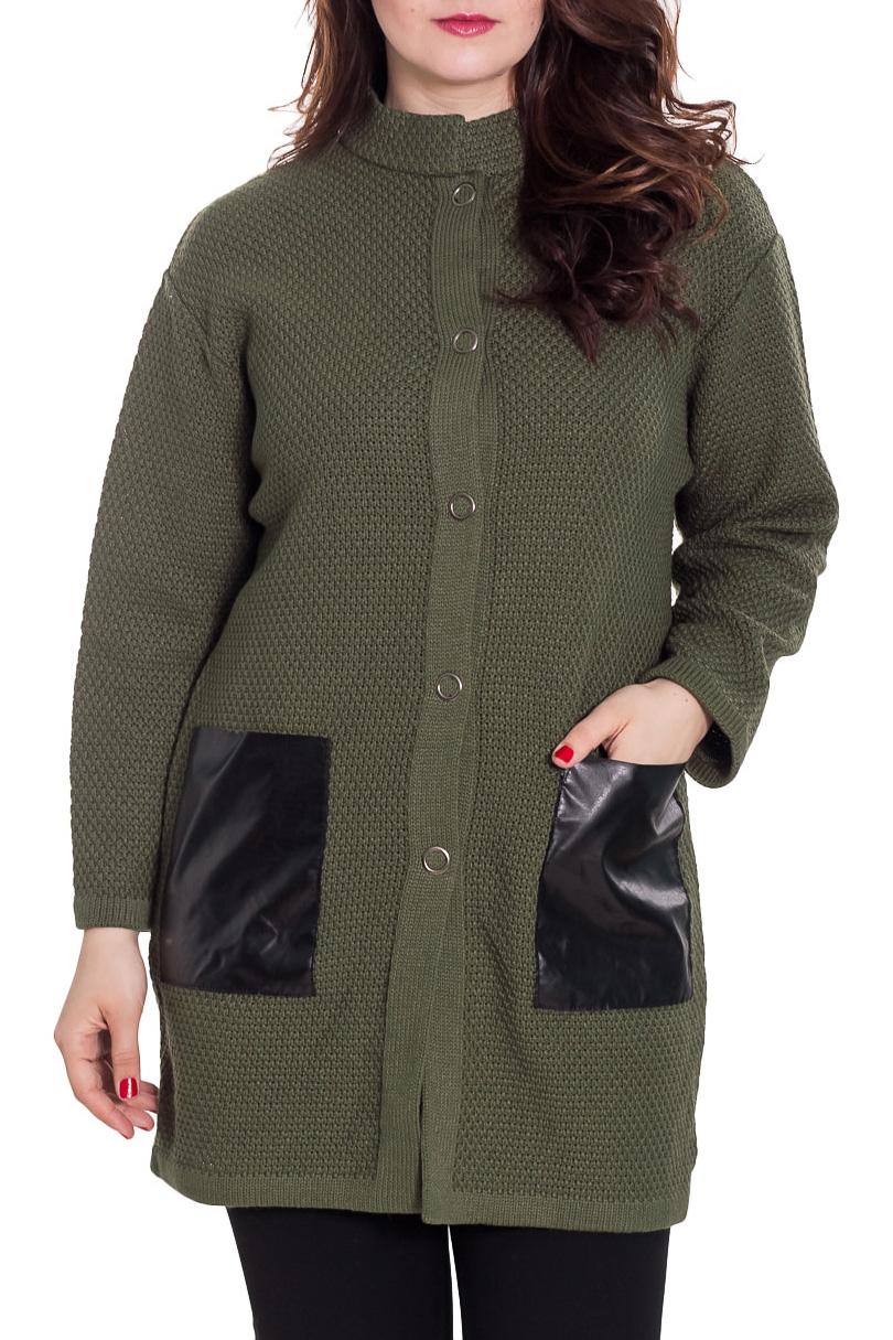 КардиганКардиганы<br>Однотонный кардиган с длинными рукавами. Застежка на пуговицы. Вязаный трикотаж - это красота, тепло и комфорт. В вязанной одежде очень легко оставаться женственной и в то же время не замёрзнуть. Можно носить как летнее пальто.  Цвет: зеленый, черный  Рост девушки-фотомодели 180 см<br><br>Воротник: Стойка<br>Застежка: С пуговицами<br>По материалу: Вязаные,Трикотаж,Шерсть<br>По рисунку: Однотонные<br>По силуэту: Прямые<br>По стилю: Повседневный стиль<br>По элементам: С карманами<br>Рукав: Длинный рукав<br>По сезону: Осень,Весна<br>По длине: Средней длины<br>Размер : 50,54<br>Материал: Вязаное полотно<br>Количество в наличии: 2