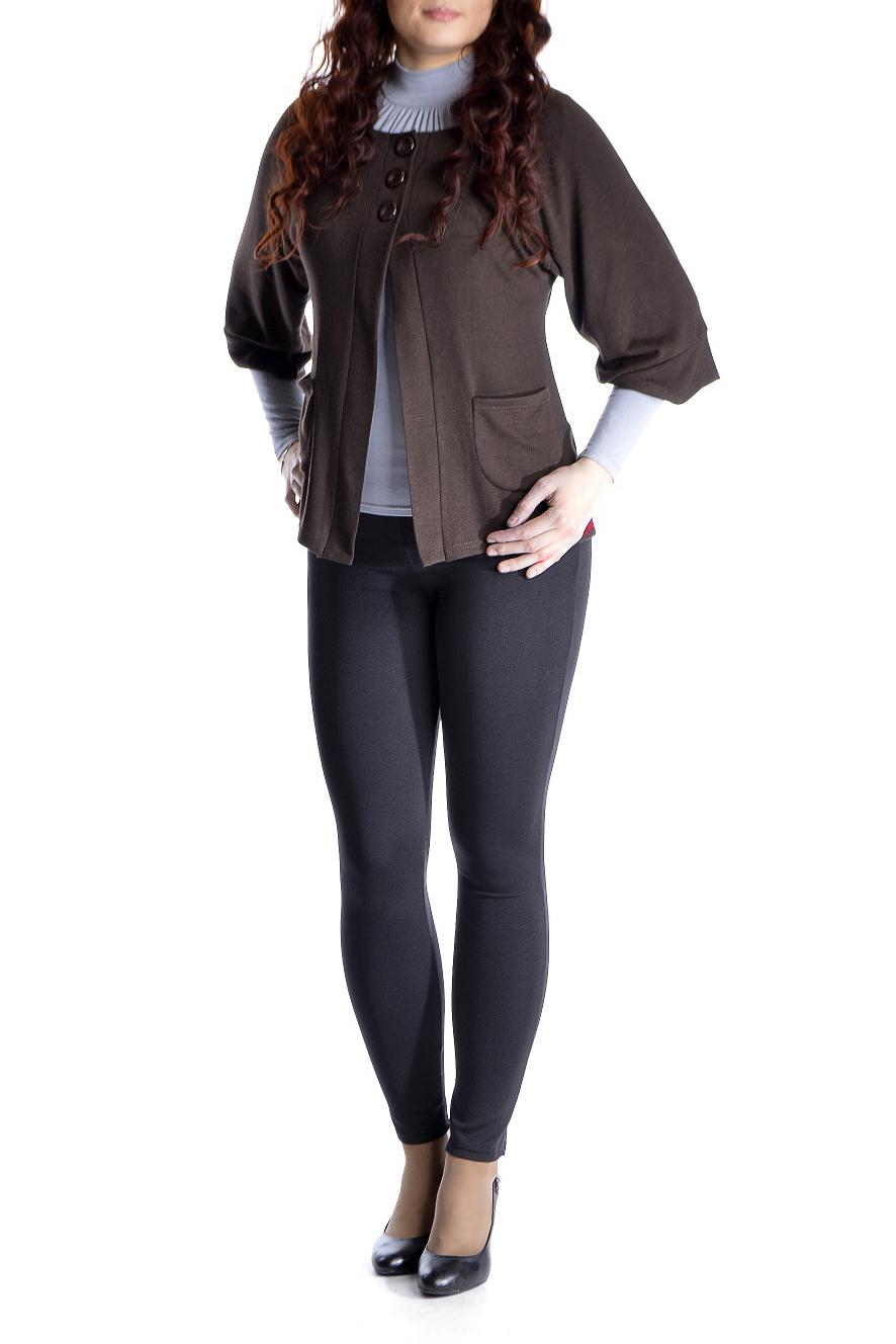 КардиганКардиганы<br>Однотонный кардиган свободного силуэта с рукавами 3/4 и застежкой на пуговицы. Модель выполнена из мягкого трикотажа. Отличный выбор для повседневного и делового гардероба.  Цвет: коричневый  Рост девушки-фотомодели 170 см.<br><br>Горловина: С- горловина<br>Застежка: С пуговицами<br>По длине: Короткие<br>По материалу: Трикотаж<br>По рисунку: Однотонные<br>По силуэту: Свободные<br>По стилю: Офисный стиль,Повседневный стиль<br>По элементам: С карманами<br>Рукав: Рукав три четверти<br>По сезону: Осень,Весна<br>Размер : 48,50,52,56<br>Материал: Трикотаж<br>Количество в наличии: 4