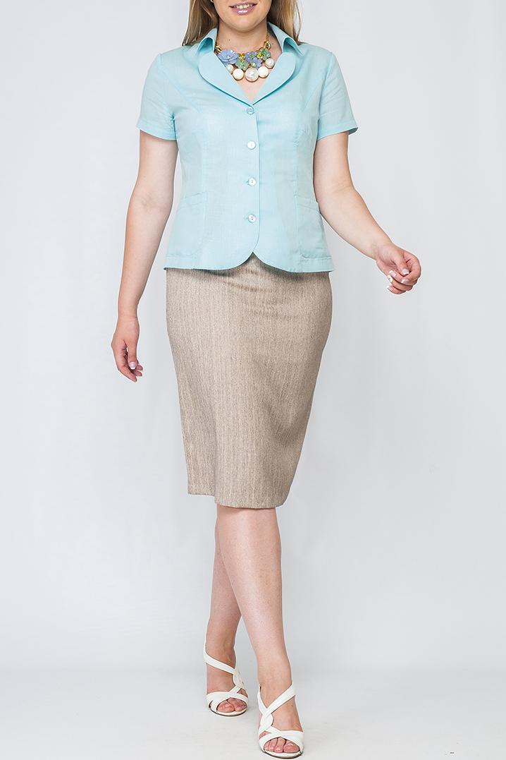 ЖакетЖакеты<br>Облегченный женский жакет с короткими рукавами.  Параметры изделия:  44 размер: объем груди - 96 см, объем бедер - 104 см, длина рукава - 11 см, длина изделия - 57 см;  52 размер: объем груди - 115 см, объем бедер - 120 см, длина рукава - 17 см, длина изделия - 59 см.  Цвет: голубой  Рост девушки-фотомодели 175 см<br><br>Воротник: Отложной<br>Горловина: V- горловина<br>Застежка: С пуговицами<br>По материалу: Лен<br>По образу: Город,Офис,Свидание<br>По рисунку: Однотонные<br>По силуэту: Полуприталенные<br>По стилю: Повседневный стиль<br>Рукав: Короткий рукав<br>По сезону: Лето<br>По длине: Средней длины<br>Размер : 42,44,46,48,50,52,54<br>Материал: Лен<br>Количество в наличии: 7