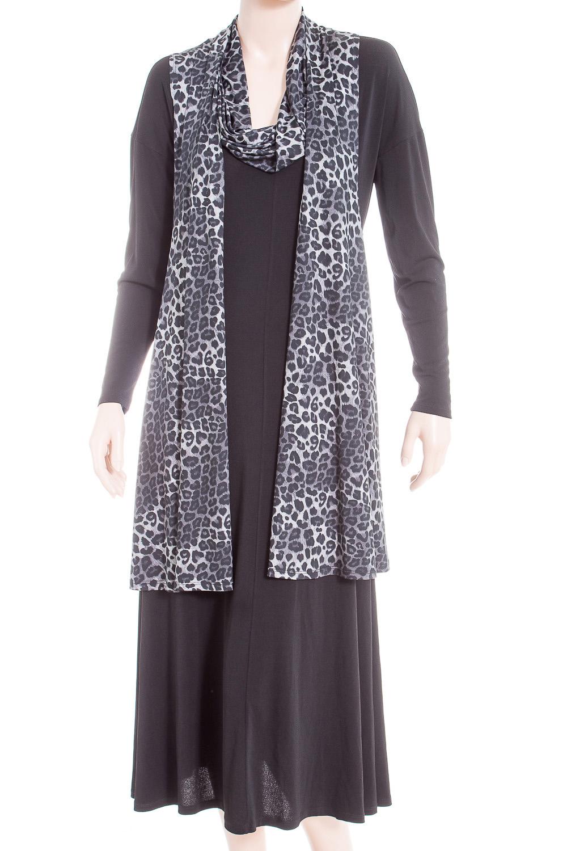 Платье+кардиганКостюмы<br>Замечательное платье с кардиганом. Модель выполнена из мягкого трикотажа и воздушного шифона. Отличный выбор для повседневного гардероба.  В изделии использованы цвета: черный, серый, белый  Ростовка изделия 170 см.<br><br>Воротник: Хомут<br>По длине: Миди,Ниже колена<br>По материалу: Трикотаж,Шифон<br>По рисунку: Леопард,С принтом,Цветные<br>По силуэту: Полуприталенные<br>По стилю: Повседневный стиль<br>По форме: Костюм двойка,Юбочный костюм<br>Рукав: Длинный рукав<br>По сезону: Осень,Весна<br>Размер : 48,50<br>Материал: Трикотаж + Холодное масло<br>Количество в наличии: 2