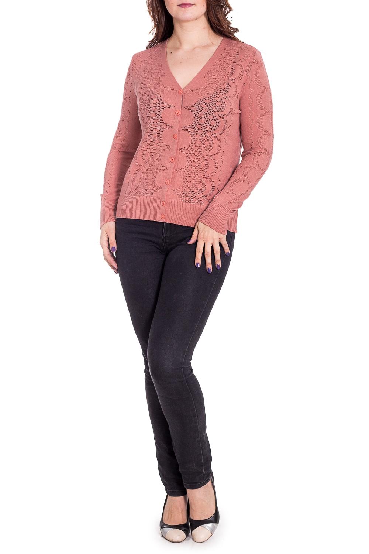ЖакетКардиганы<br>Ажурный жакет с длинными рукавами. Вязаный трикотаж - это красота, тепло и комфорт. В вязаных вещах очень легко оставаться женственной и в то же время не замёрзнуть. Ростовка изделия 164 см.  В изделии использованы цвета: пудровый  Рост девушки-фотомодели 180 см.<br><br>Горловина: V- горловина<br>Застежка: С пуговицами<br>По длине: Средней длины<br>По материалу: Вязаные,Трикотаж<br>По образу: Город,Свидание<br>По рисунку: Однотонные<br>По сезону: Весна,Зима,Лето,Осень,Всесезон<br>По силуэту: Полуприталенные<br>По стилю: Повседневный стиль<br>Рукав: Длинный рукав<br>Размер : 54<br>Материал: Вязаное полотно<br>Количество в наличии: 1