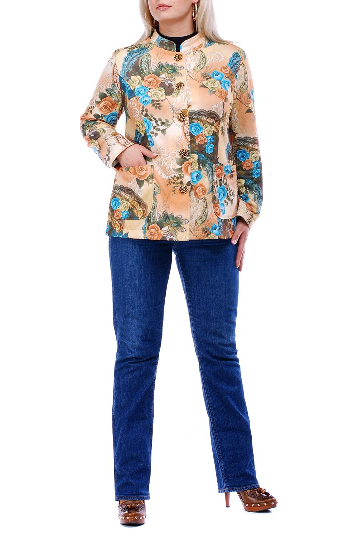 ЖакетЖакеты<br>Прекрасный жакет с длинными рукавами и застежкой на пуговицы. Модель выполнена из плотного трикотажа. Отличный выбор для повседневного гардероба.  Цвет: бежевый, коричневый, голубой  Рост девушки-фотомодели 173 см.<br><br>Воротник: Стойка<br>Застежка: С пуговицами<br>По материалу: Трикотаж<br>По рисунку: Растительные мотивы,С принтом,Цветные,Цветочные<br>По силуэту: Полуприталенные<br>По стилю: Повседневный стиль<br>Рукав: Длинный рукав<br>По сезону: Осень,Весна<br>По длине: Средней длины<br>Размер : 64<br>Материал: Джерси<br>Количество в наличии: 1