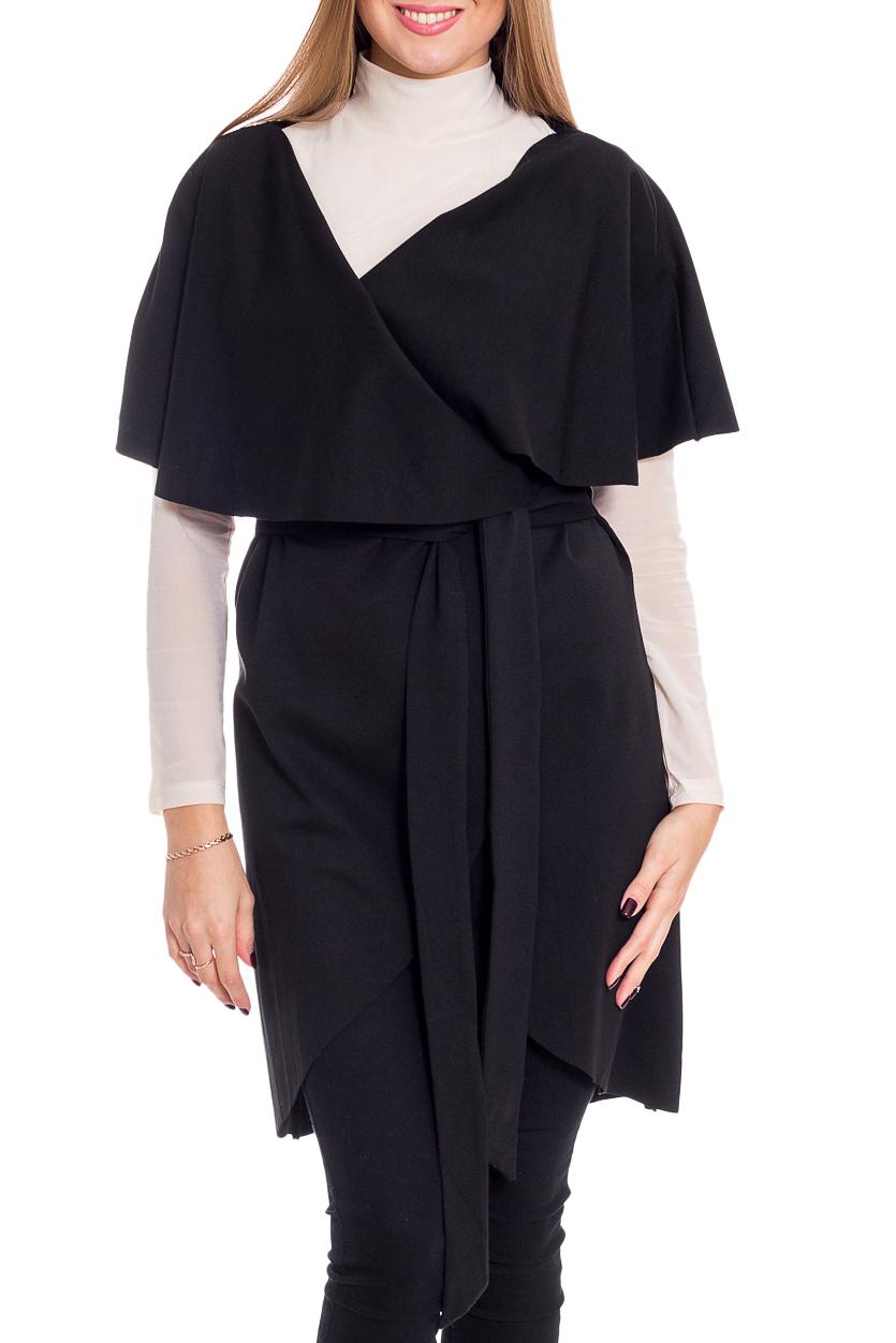 Платье-кардиганКардиганы<br>Интересное платье-кардиган без застежки. Модель выполнена из приятного материала. Отличный выбор для повседневного и делового гардероба. Кардиган без пояса.  Цвет: черный  Рост девушки-фотомодели 170 см<br><br>Воротник: Отложной<br>Горловина: Запах<br>По материалу: Трикотаж,Хлопок<br>По рисунку: Однотонные<br>По силуэту: Приталенные<br>По стилю: Офисный стиль,Повседневный стиль<br>Рукав: Короткий рукав<br>По сезону: Осень,Весна<br>По длине: Средней длины<br>Размер : 42,44<br>Материал: Трикотаж<br>Количество в наличии: 2