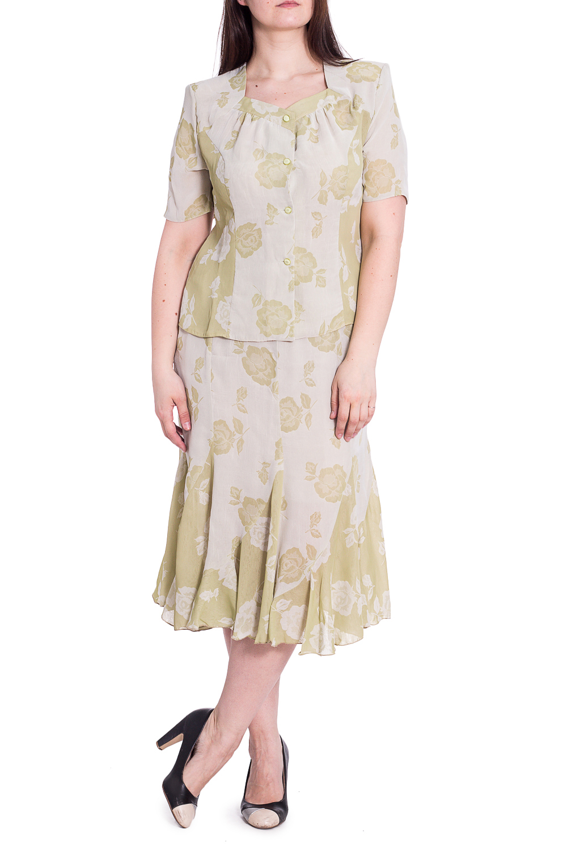 КостюмКостюмы<br>Чудесный костюм состоит из блузки и юбки. Модель выполнена из воздушного шифона. Отличный выбор для повседневного гардероба.   В изделии использованы цвета: светло-зеленый  Рост девушки-фотомодели 180 см<br><br>Горловина: Фигурная горловина<br>Застежка: С пуговицами<br>По длине: Миди,Ниже колена<br>По материалу: Шифон<br>По рисунку: Растительные мотивы,С принтом,Цветные,Цветочные<br>По силуэту: Приталенные<br>По стилю: Летний стиль,Повседневный стиль<br>По форме: Костюм двойка,Юбочный костюм<br>Рукав: Короткий рукав<br>По сезону: Лето<br>Размер : 50,52,56<br>Материал: Шифон<br>Количество в наличии: 3