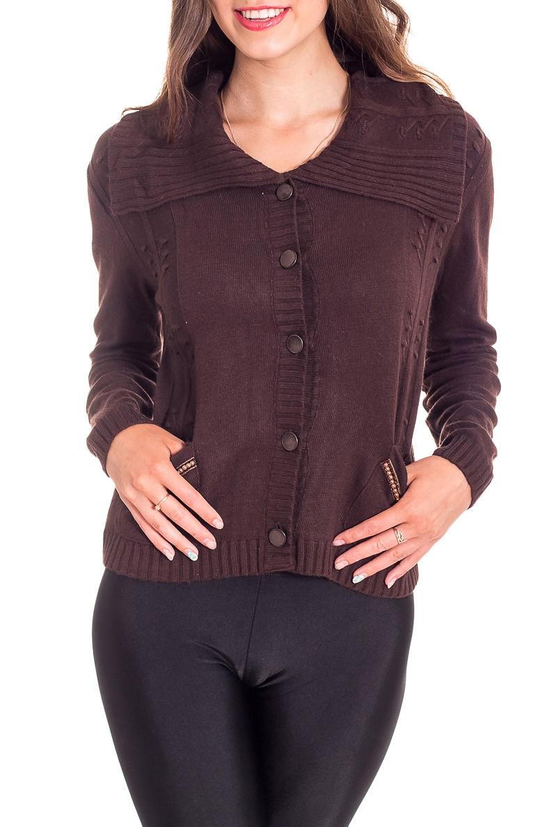 ЖакетЖакеты<br>Однотонный жакет с длинными рукавами из вязаного трикотажа. Вязаный трикотаж - это красота, тепло и комфорт. В вязанных вещах очень легко оставаться женственной и в то же время не замёрзнуть.  Цвет: коричневый  Рост девушки-фотомодели 170 см<br><br>Воротник: Отложной<br>Застежка: С пуговицами<br>По длине: Короткие<br>По материалу: Вязаные,Трикотаж<br>По рисунку: Однотонные<br>По силуэту: Полуприталенные<br>По стилю: Повседневный стиль<br>По элементам: С карманами,С манжетами<br>Рукав: Длинный рукав<br>По сезону: Зима<br>Размер : 44,46,48<br>Материал: Вязаное полотно<br>Количество в наличии: 3