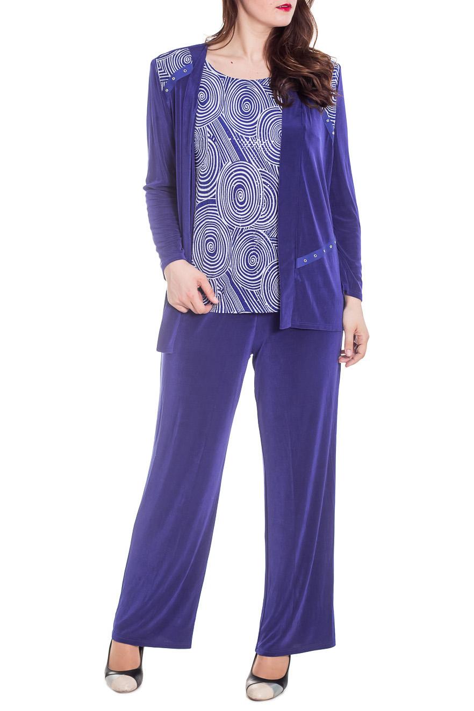 КостюмКостюмы<br>Чудесный костюм состоит из блузки и брюк. Модель выполнена из струящегося трикотажа. Отличный выбор для эффектного выхода.  Цвет: фиолетовый, сиреневый  Рост девушки-фотомодель 180 см.<br><br>Горловина: С- горловина<br>По длине: Макси<br>По материалу: Трикотаж<br>По образу: Город,Свидание<br>По рисунку: С принтом,Цветные<br>По силуэту: Полуприталенные<br>По стилю: Повседневный стиль<br>По форме: Брючные,Костюм двойка<br>Рукав: Длинный рукав<br>По сезону: Лето<br>Размер : 54,60,62<br>Материал: Холодное масло<br>Количество в наличии: 4