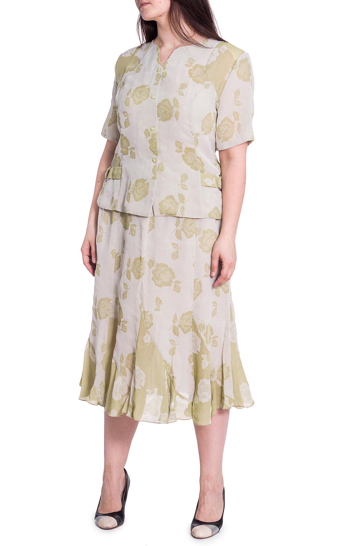КостюмКостюмы<br>Чудесный костюм состоит из блузки и юбки. Модель выполнена из воздушного шифона. Отличный выбор для повседневного гардероба.   В изделии использованы цвета: светло-зеленый  Рост девушки-фотомодели 180 см<br><br>Горловина: Фигурная горловина<br>Застежка: С пуговицами<br>По длине: Миди,Ниже колена<br>По материалу: Шифон<br>По рисунку: Растительные мотивы,С принтом,Цветные,Цветочные<br>По силуэту: Приталенные<br>По стилю: Летний стиль,Повседневный стиль<br>По форме: Костюм двойка,Юбочный костюм<br>Рукав: Короткий рукав<br>По сезону: Лето<br>Размер : 54<br>Материал: Шифон<br>Количество в наличии: 1