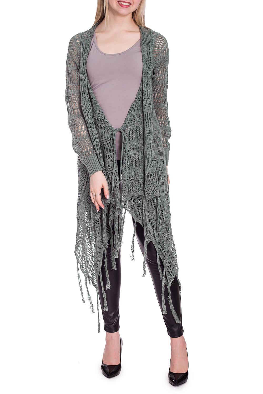 КардиганКардиганы<br>Интересный кардиган с фигурным подолом и длинными рукавами. Модель выполнена из вязаного трикотажа. Отличный выбор для повседневного гардероба.  В изделии использованы цвета: серо-зеленый  Рост девушки-фотомодели 170 см.<br><br>Горловина: V- горловина<br>По длине: Удлиненные<br>По материалу: Вязаные<br>По рисунку: Однотонные<br>По сезону: Лето,Осень,Весна<br>По силуэту: Полуприталенные<br>По стилю: Повседневный стиль<br>По элементам: С декором,С манжетами,С фигурным низом<br>Рукав: Длинный рукав<br>Размер : 44-46,48-50<br>Материал: Вязаное полотно<br>Количество в наличии: 2