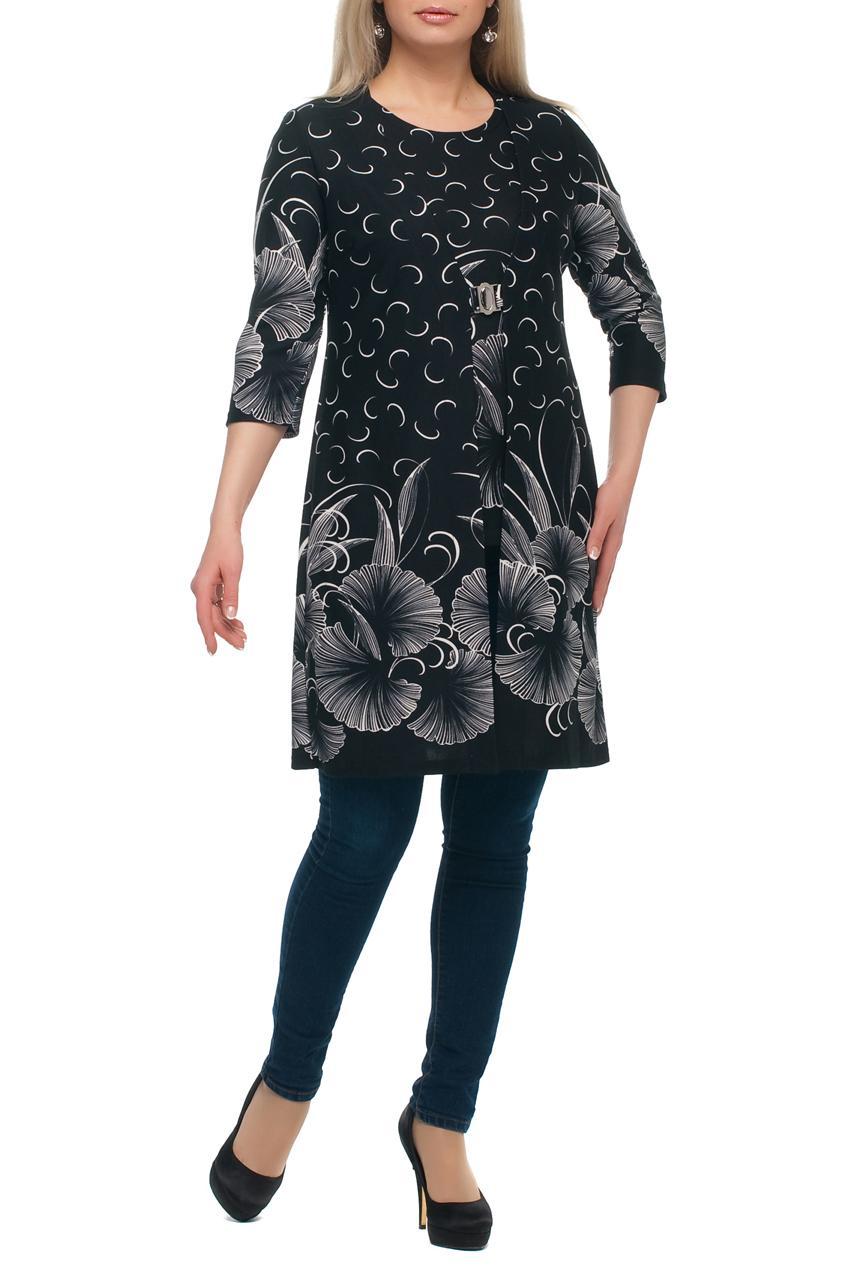 Кардиган + блузкаКардиганы<br>Отличный кардиган с блузкой. Модель выполнена из плотного трикотажа. Отличный выбор для повседневного гардероба.  В изделии использованы цвета: черный, белый  Рост девушки-фотомодели 173 см.<br><br>Горловина: V- горловина,С- горловина<br>По длине: Удлиненные<br>По материалу: Трикотаж<br>По рисунку: Растительные мотивы,С принтом,Цветные,Цветочные<br>По сезону: Зима,Осень,Весна<br>По силуэту: Полуприталенные<br>По стилю: Повседневный стиль<br>Рукав: Рукав три четверти<br>Размер : 48,50,56,60,62<br>Материал: Трикотаж<br>Количество в наличии: 5