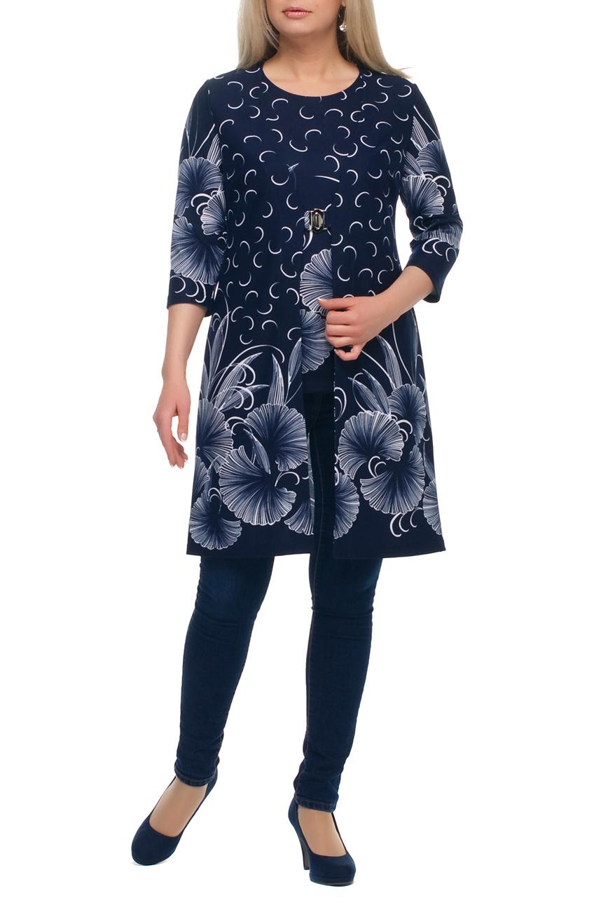 Кардиган + блузкаКардиганы<br>Отличный кардиган с блузкой. Модель выполнена из плотного трикотажа. Отличный выбор для повседневного гардероба.  В изделии использованы цвета: синий, белый  Рост девушки-фотомодели 173 см.<br><br>Горловина: V- горловина,С- горловина<br>По длине: Удлиненные<br>По материалу: Трикотаж<br>По рисунку: Растительные мотивы,С принтом,Цветные,Цветочные<br>По сезону: Зима,Осень,Весна<br>По силуэту: Полуприталенные<br>По стилю: Повседневный стиль<br>Рукав: Рукав три четверти<br>Размер : 50,52,54,56,58,60,62,64,66,68,70<br>Материал: Трикотаж<br>Количество в наличии: 11