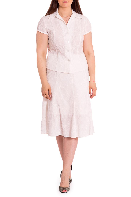 КостюмКостюмы<br>Облегченный летний костбм состоит из жакета и юбки. Модель выполнена из хлопкового материала. Отличный выбор для любого случая.В изделии использованы цвета: белыйРост девушки-фотомодели 180 см<br><br>Воротник: Отложной<br>Горловина: V- горловина<br>Застежка: С пуговицами<br>Рукав: Короткий рукав<br>Длина: Ниже колена<br>Материал: Тканевые,Хлопок<br>Рисунок: Однотонные<br>Сезон: Лето<br>Силуэт: Полуприталенные<br>Стиль: Летний стиль,Офисный стиль,Повседневный стиль<br>Форма: Костюм двойка,Юбочный костюм<br>Размер : 48,50,54<br>Материал: Костюмная ткань<br>Количество в наличии: 3