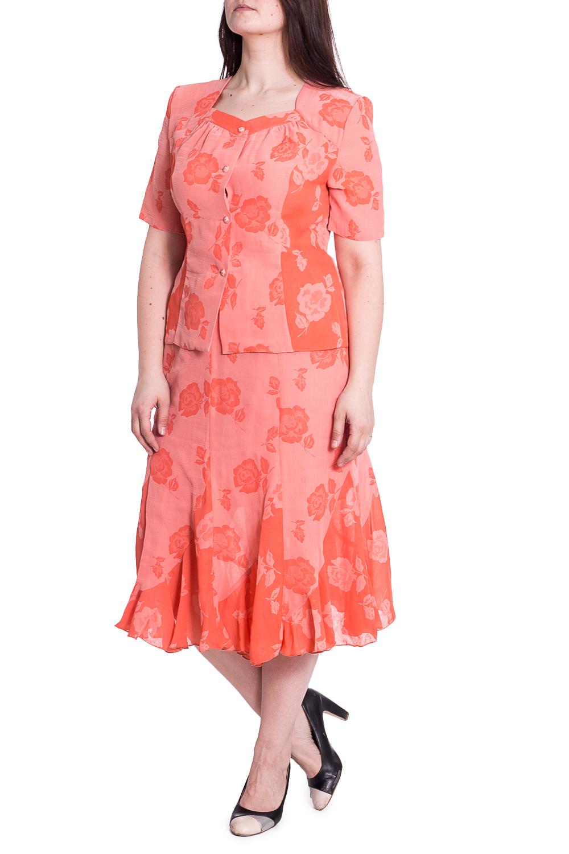 КостюмКостюмы<br>Чудесный костюм состоит из блузки и юбки. Модель выполнена из воздушного шифона. Отличный выбор для повседневного гардероба.   В изделии использованы цвета: персиковый  Рост девушки-фотомодели 180 см<br><br>Горловина: Фигурная горловина<br>Застежка: С пуговицами<br>По длине: Миди,Ниже колена<br>По материалу: Шифон<br>По рисунку: Растительные мотивы,С принтом,Цветные,Цветочные<br>По силуэту: Приталенные<br>По стилю: Летний стиль,Повседневный стиль<br>По форме: Костюм двойка,Юбочный костюм<br>Рукав: Короткий рукав<br>По сезону: Лето<br>Размер : 52,54,56<br>Материал: Шифон<br>Количество в наличии: 3