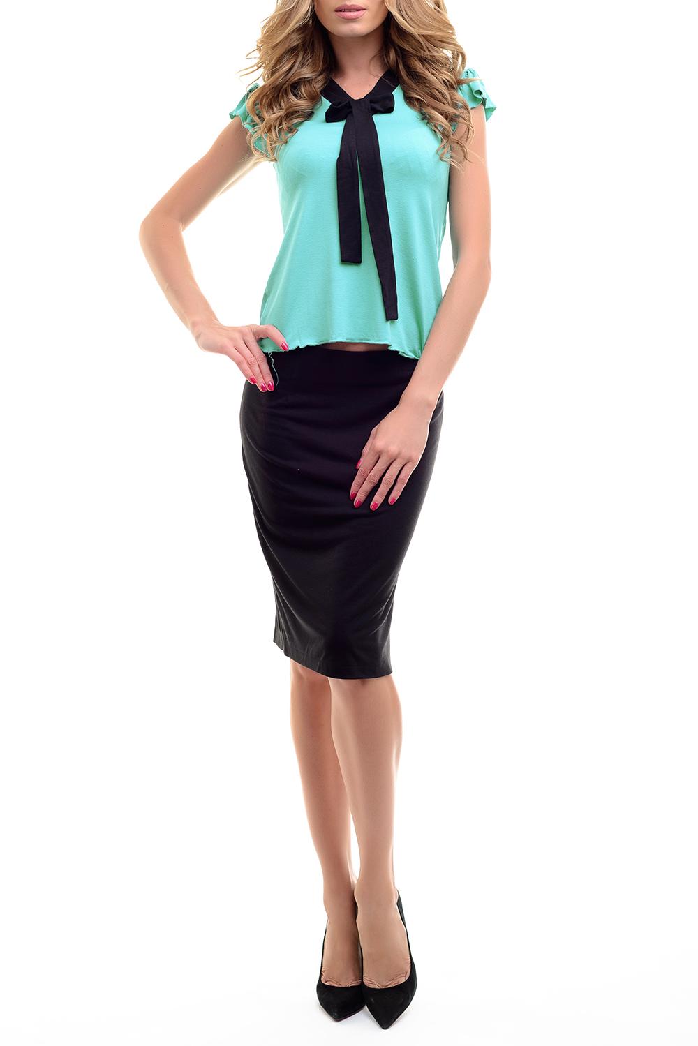 КостюмКостюмы<br>Для современных женщин главное в одежде - красота и комфорт. Именно поэтому мы создали удобный комплект, который включает блузку и юбку. Застежка на юбке - молния.Цвет: черный + мятный.Ростовка изделия 170 см.<br><br>Воротник: Фантазийный<br>Длина: До колена<br>Застежка: С молнией<br>Материал: Вискоза,Трикотаж<br>Разрез: Короткий<br>Рисунок: Цветные<br>Рукав: Короткий рукав<br>Сезон: Весна,Зима,Лето,Осень,Всесезон<br>Силуэт: Полуприталенные<br>Стиль: Классический стиль,Кэжуал,Летний стиль,Молодежный стиль,Офисный стиль,Повседневный стиль<br>Форма: Костюм двойка,Юбочный костюм<br>Элементы: С декором<br>Размер : 42-44,44-46,46-48<br>Материал: Вискоза<br>Количество в наличии: 3