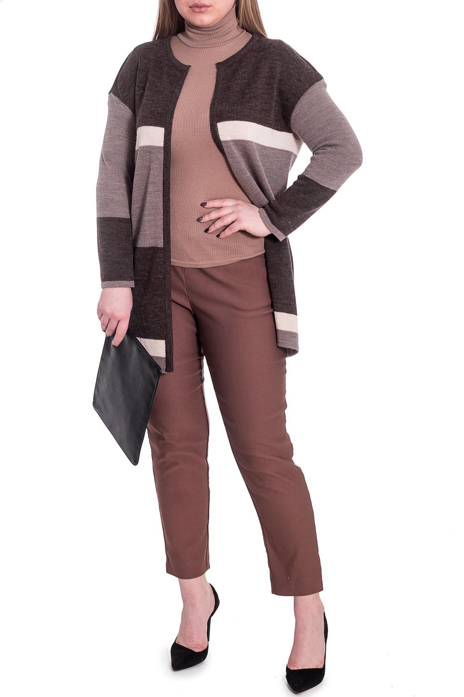 КардиганКардиганы<br>Изысканный жакет прямого силуэта без застежки. Вязаные изделия - это красота, тепло и комфорт. В вязаных вещах очень легко оставаться женственной и в то же время не замёрзнуть.  Горловина и борта обработаны бейками. Рукав рубашечный, 7/8, со спущенной линией плеча.   В изделии использованы цвета: коричневый, бежевый, молочный.  Длина рукава (от конечной плечевой точки) - 55 ± 1 см  Рост девушки-фотомодели 170 см  Длина изделия - 76 ± 2 см  При создании образа, который Вы видите на фотографии, также была использована стильная сумка арт. SMK12016. Для просмотра модели введите артикул в строке поиска.<br><br>По длине: Удлиненные<br>По материалу: Вязаные<br>По рисунку: В полоску,Цветные<br>По сезону: Зима,Осень,Весна<br>По силуэту: Прямые<br>По стилю: Кэжуал,Офисный стиль,Повседневный стиль<br>Рукав: Длинный рукав<br>Размер : 48,58<br>Материал: Пряжа<br>Количество в наличии: 2