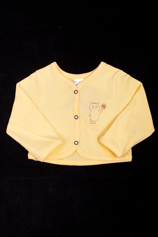 ЖакетикКардиганы<br>Укороченный жакетик с длинными рукавами.  Цвет: желтый  Размер соответствует росту ребенка<br><br>По длине: Короткие<br>По материалу: Трикотажные,Хлопковые<br>По образу: Повседневные<br>По рисунку: Однотонные,С принтом (печатью)<br>По сезону: Весна,Зима,Лето,Осень,Всесезон<br>По силуэту: Полуприталенные<br>По элементам: С кнопками<br>Рукав: Длинный рукав<br>По возрасту: Ясельные ( от 1 до 3 лет)<br>Размер : 68,74,86,92<br>Материал: Трикотаж<br>Количество в наличии: 5