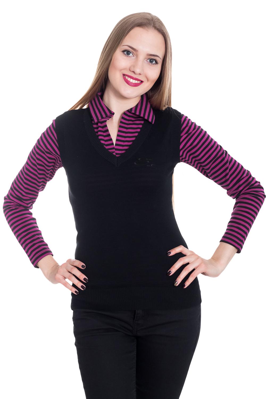 ЖилетЖилеты<br>Классический женский жилет - это универсальный предмет одежды, в котором можно пойти как на работу, так и на свидание.  Цвет: черный.  Рост девушки-фотомодели 170 см<br><br>Горловина: V- горловина<br>По длине: Короткие<br>По материалу: Трикотаж<br>По образу: Город,Офис,Свидание<br>По рисунку: Однотонные<br>По сезону: Весна,Зима,Лето,Осень,Всесезон<br>По силуэту: Прямые<br>По стилю: Винтаж,Классический стиль,Кэжуал,Офисный стиль,Повседневный стиль<br>Рукав: Без рукавов<br>Размер : 40-42<br>Материал: Трикотаж<br>Количество в наличии: 1