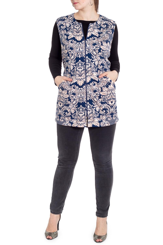 ЖилетЖилеты<br>Удобный женский жилет с застежкой на молнию. Модель выполнена из плотного трикотажа. Отличный выбор для повседневного гардероба и активного отдыха.  В изделии использованы цвета: синий, бежевый и др.  Рост девушки-фотомодели 180 см.<br><br>Горловина: С- горловина<br>Застежка: С молнией<br>По длине: Средней длины<br>По материалу: Трикотаж,Хлопок<br>По рисунку: С принтом,Цветные,Этнические<br>По силуэту: Полуприталенные<br>По стилю: Повседневный стиль<br>По элементам: С карманами<br>Рукав: Без рукавов<br>По сезону: Осень,Весна<br>Размер : 54,56,60<br>Материал: Трикотаж<br>Количество в наличии: 7
