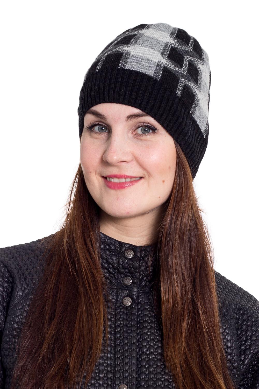 ШапкаШапки<br>Очаровательная шапка подарит Вам тепло и комфорт.  Стильный аксессуар защитит Вас от непогоды и станет прекрасным дополнением Вашего образа.  В изделии использованы цвета: черный, серый<br><br>По материалу: Вязаные<br>По рисунку: Цветные<br>По сезону: Зима,Осень,Весна<br>Размер : universal<br>Материал: Вязаное полотно<br>Количество в наличии: 1
