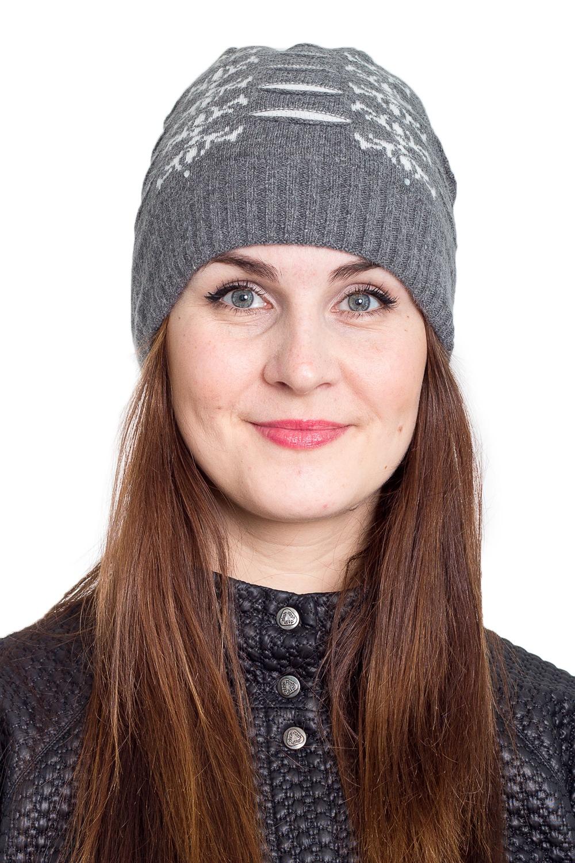 ШапкаШапки<br>Очаровательная шапка подарит Вам тепло и комфорт.  Стильный аксессуар защитит Вас от непогоды и станет прекрасным дополнением Вашего образа.  В изделии использованы цвета: серый, белый<br><br>По материалу: Вязаные<br>По рисунку: С принтом,Цветные<br>По сезону: Зима,Осень,Весна<br>Размер : universal<br>Материал: Вязаное полотно<br>Количество в наличии: 1