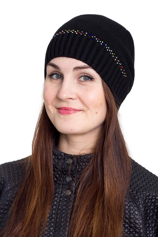 ШапкаШапки<br>Однотонная шапка подарит Вам тепло и комфорт.  Стильный аксессуар защитит Вас от непогоды и станет прекрасным дополнением Вашего образа.  В изделии использованы цвета: черный<br><br>По материалу: Вязаные<br>По рисунку: Однотонные<br>По сезону: Зима,Осень,Весна<br>По элементам: С декором<br>Размер : universal<br>Материал: Вязаное полотно<br>Количество в наличии: 1