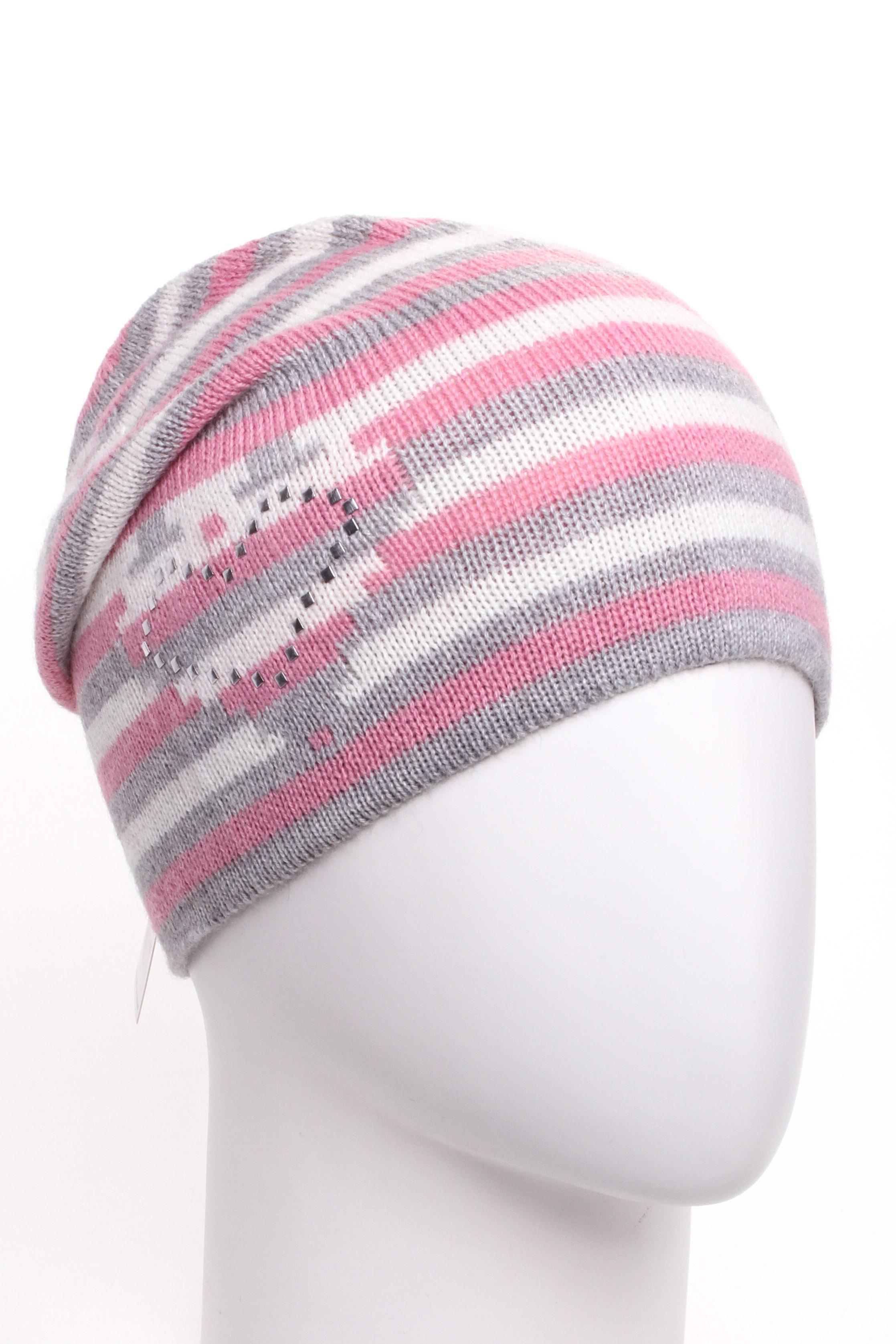 ШапкаШапки<br>Стильная шапка защитит Вас от непогоды и станет прекрасным дополнением Вашего образа.  В изделии использованы цвета: розовый, серый, белый<br><br>По материалу: Вязаные<br>По рисунку: В полоску,Цветные<br>По элементам: С декором<br>По сезону: Зима<br>Размер : universal<br>Материал: Вязаное полотно<br>Количество в наличии: 1
