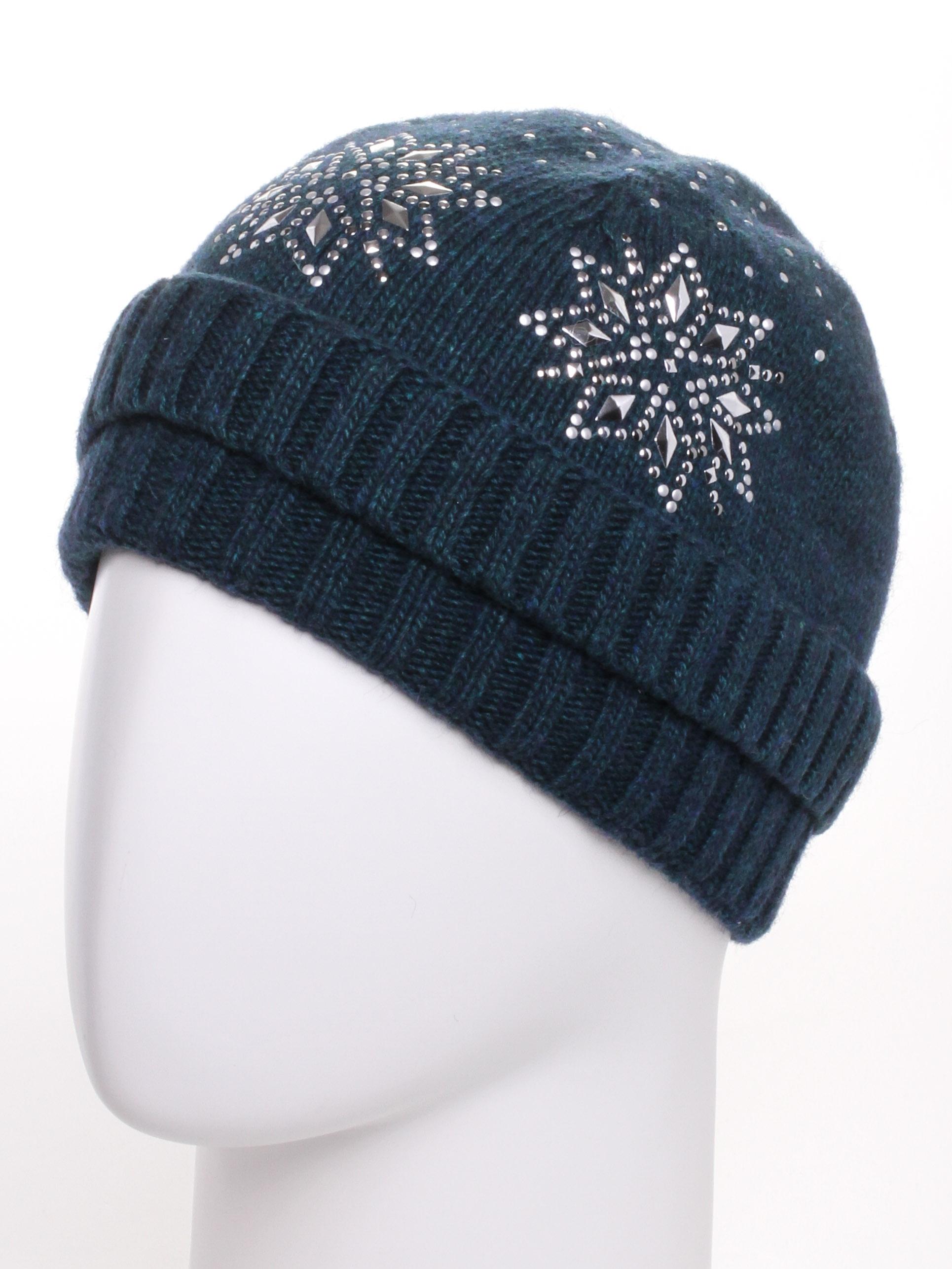 ШапкаШапки<br>Стильная шапка защитит Вас от непогоды и станет прекрасным дополнением Вашего образа.  В изделии использованы цвета: темно-зеленый<br><br>По материалу: Вязаные<br>По рисунку: Однотонные<br>По элементам: С декором<br>По сезону: Зима<br>Размер : universal<br>Материал: Вязаное полотно<br>Количество в наличии: 1