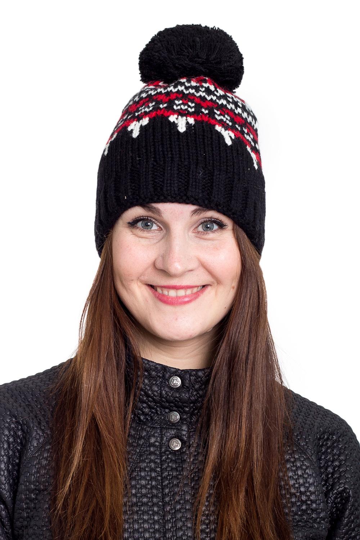 ШапкаШапки<br>Очаровательная шапка подарит Вам тепло и комфорт.  Стильный аксессуар защитит Вас от непогоды и станет прекрасным дополнением Вашего образа.  В изделии использованы цвета: черный, красный, белый<br><br>По материалу: Вязаные<br>По рисунку: С принтом,Цветные<br>По сезону: Зима,Осень,Весна<br>По элементам: С помпоном<br>Размер : universal<br>Материал: Вязаное полотно<br>Количество в наличии: 1