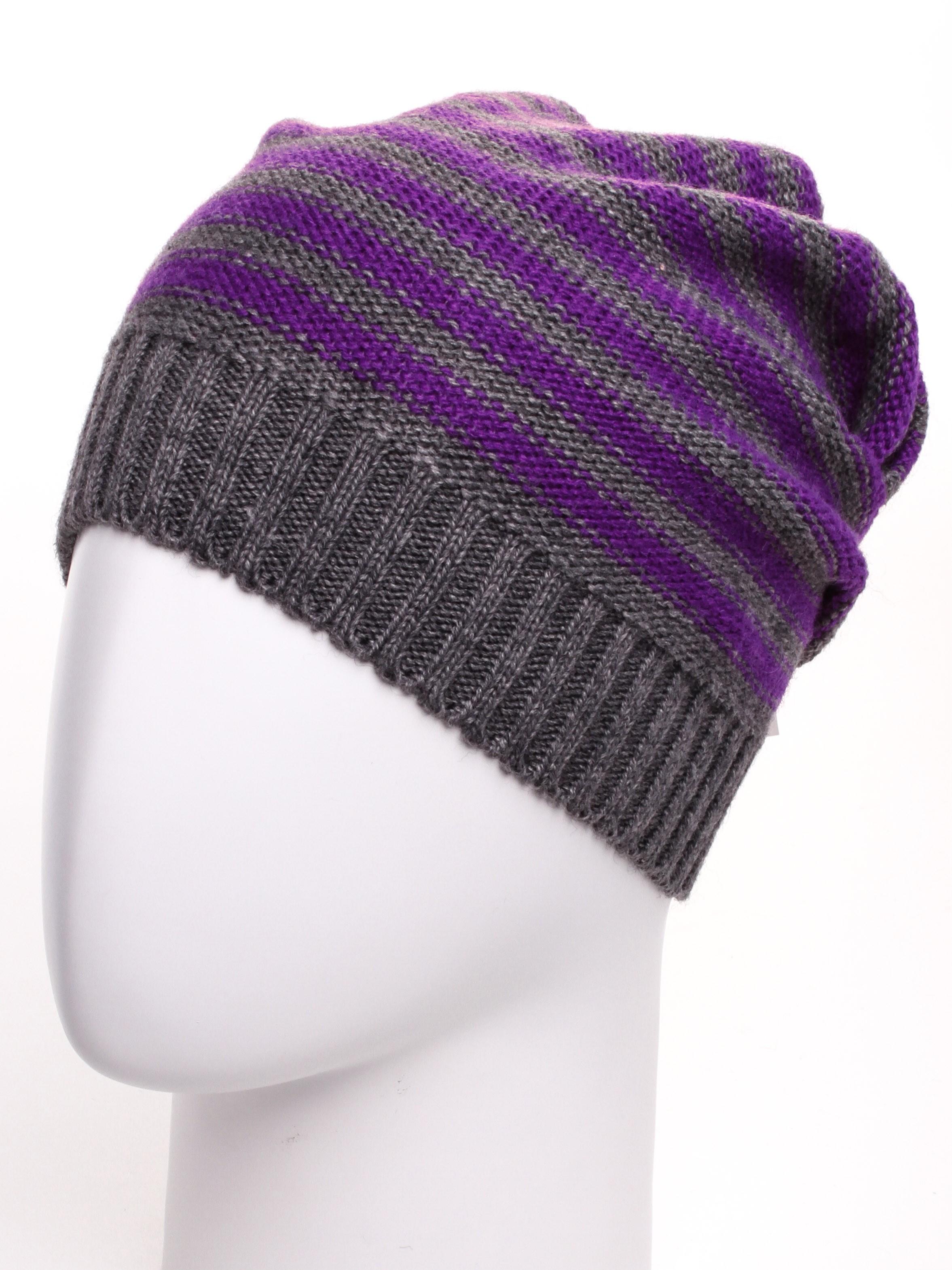 Шапка GU(185)-GOL-universalШапки<br>Стильная шапка защитит Вас от непогоды и станет прекрасным дополнением Вашего образа.  В изделии использованы цвета: серый, фиолетовый<br><br>По материалу: Вязаные<br>По рисунку: В полоску,Цветные<br>По сезону: Зима<br>Размер : universal<br>Материал: Вязаное полотно<br>Количество в наличии: 1