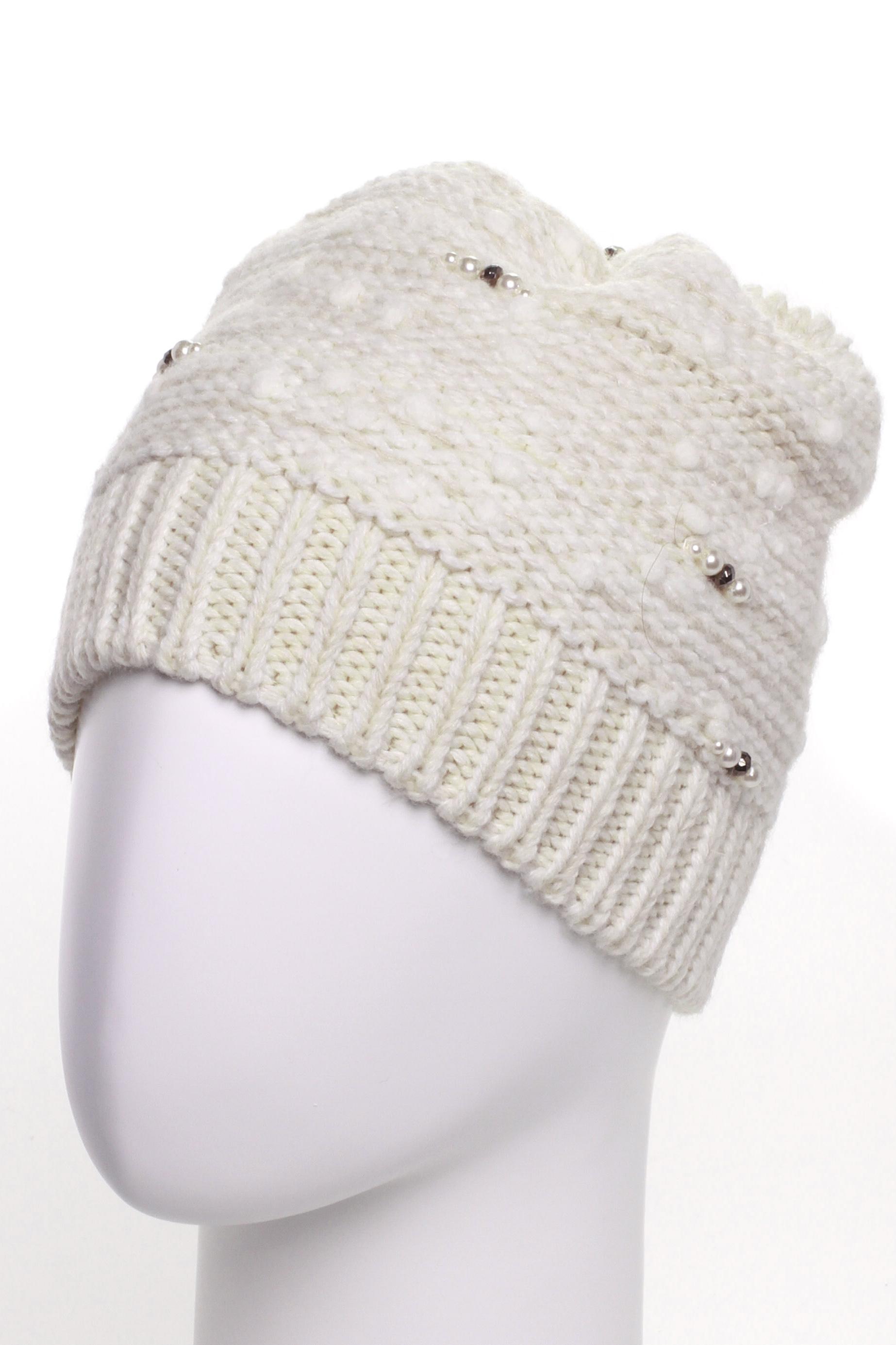 ШапкаШапки<br>Стильная шапка защитит Вас от непогоды и станет прекрасным дополнением Вашего образа.  В изделии использованы цвета: белый<br><br>По материалу: Вязаные<br>По рисунку: Однотонные<br>По элементам: С декором<br>По сезону: Зима<br>Размер : universal<br>Материал: Вязаное полотно<br>Количество в наличии: 1