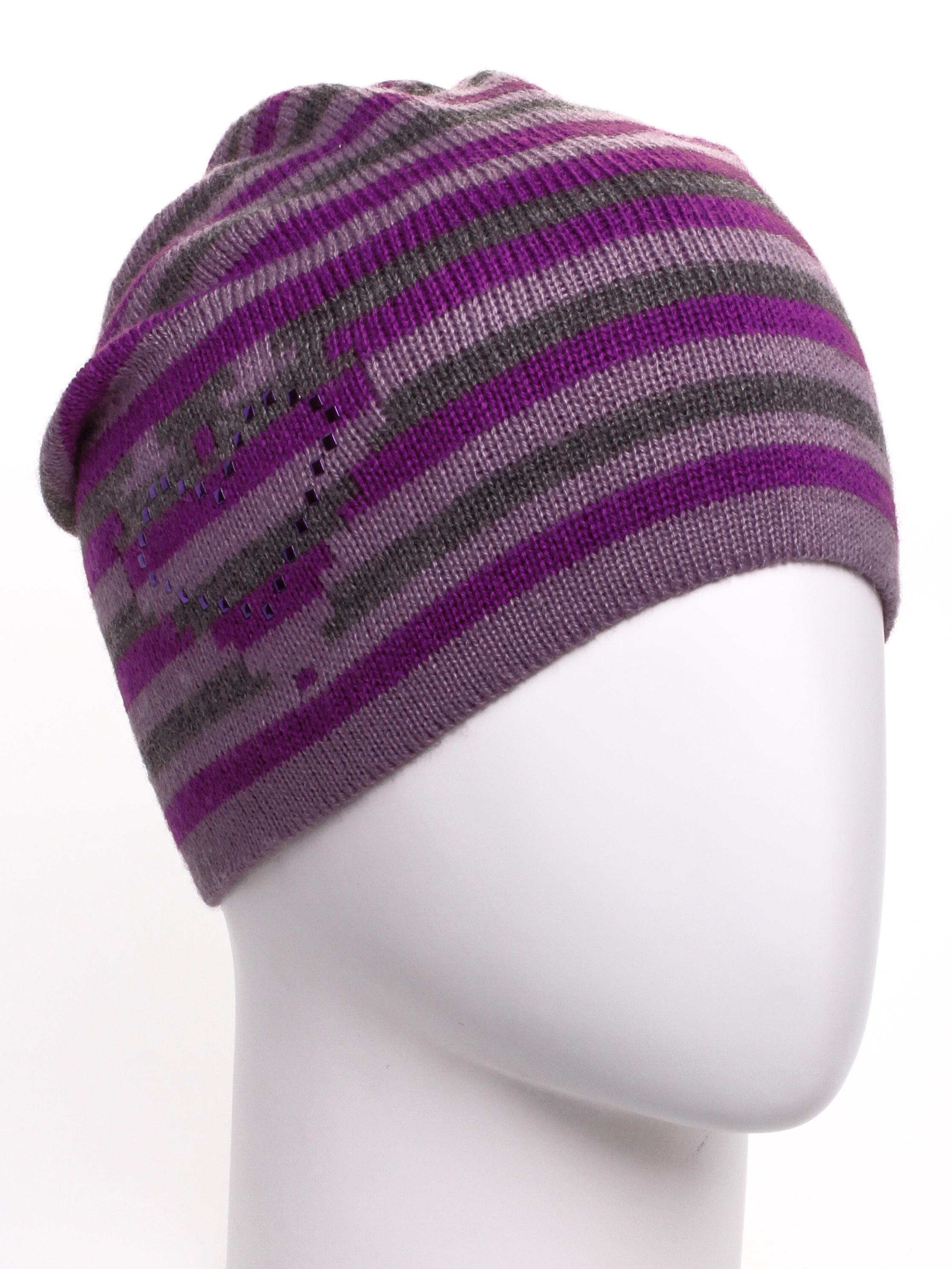 ШапкаШапки<br>Вязаная шапка подарит Вам тепло и комфорт.  Стильный аксессуар подчеркнет Вашу женственность и станет прекрасным дополнением Вашего образа.  В изделии использованы цвета: сиреневый, фиолетовый, серый<br><br>По материалу: Вязаные,Трикотаж<br>По рисунку: В полоску,С принтом,Цветные<br>По элементам: С декором<br>По сезону: Осень,Весна<br>Размер : universal<br>Материал: Вязаное полотно<br>Количество в наличии: 1