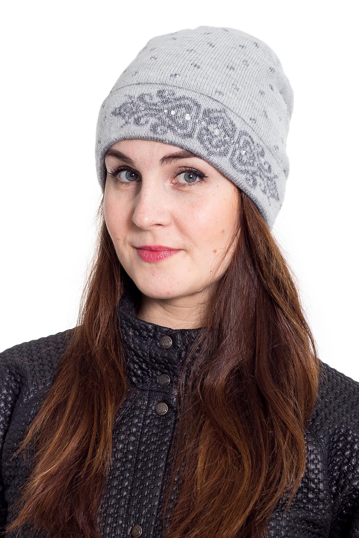 ШапкаШапки<br>Однотонная шапка подарит Вам тепло и комфорт.  Стильный аксессуар защитит Вас от непогоды и станет прекрасным дополнением Вашего образа.  В изделии использованы цвета: серый<br><br>По материалу: Вязаные<br>По рисунку: Однотонные<br>По сезону: Весна,Осень,Зима<br>По элементам: С декором<br>Размер : universal<br>Материал: Вязаное полотно<br>Количество в наличии: 1