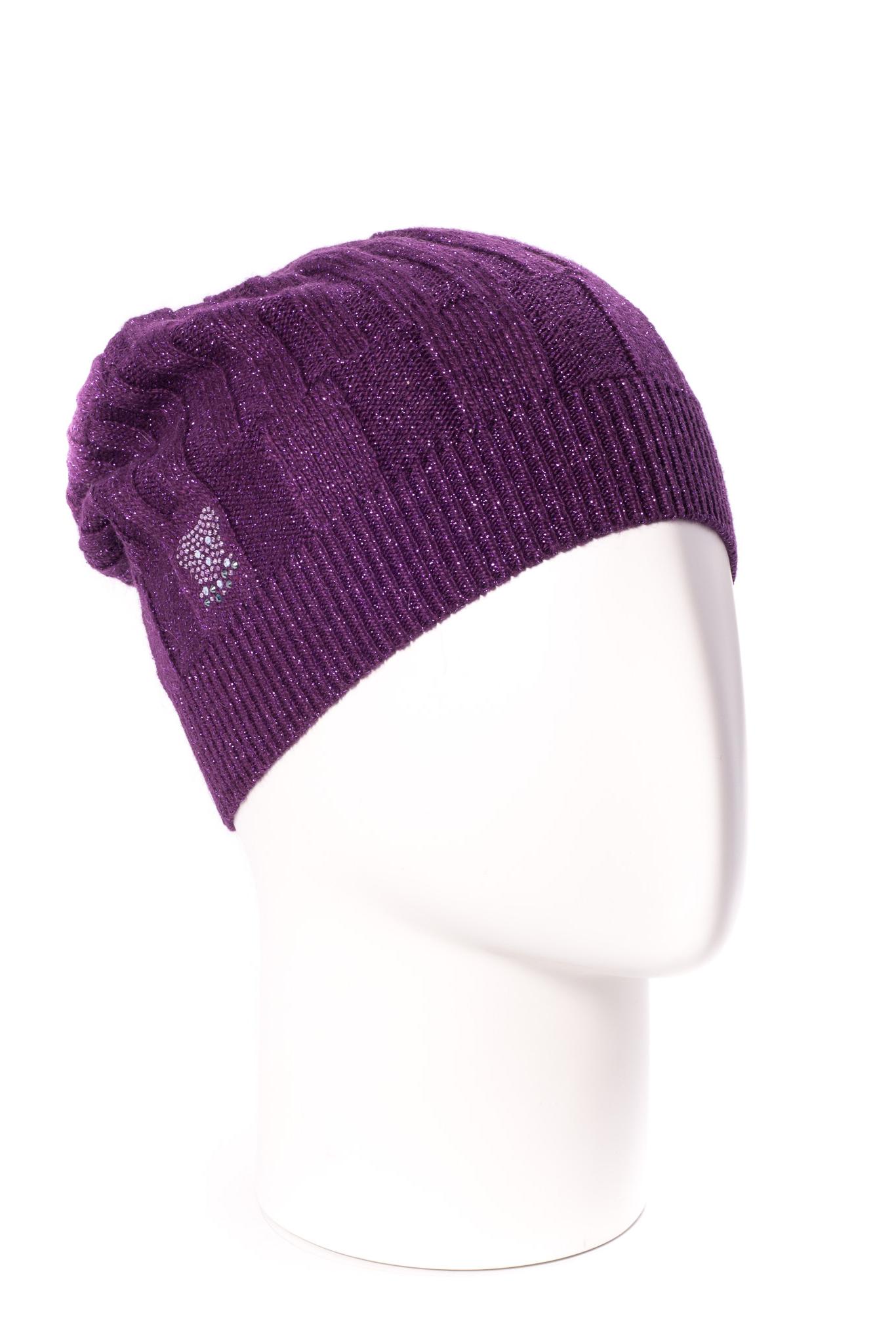 ШапкаШапки<br>Однотонная шапка подарит Вам тепло и комфорт.  Стильный аксессуар защитит Вас от непогоды и станет прекрасным дополнением Вашего образа.  В изделии использованы цвета: фиолетовый<br><br>По материалу: Вязаные,Трикотаж<br>По рисунку: Однотонные<br>По элементам: С декором<br>По сезону: Осень,Весна<br>Размер : universal<br>Материал: Вязаное полотно<br>Количество в наличии: 1
