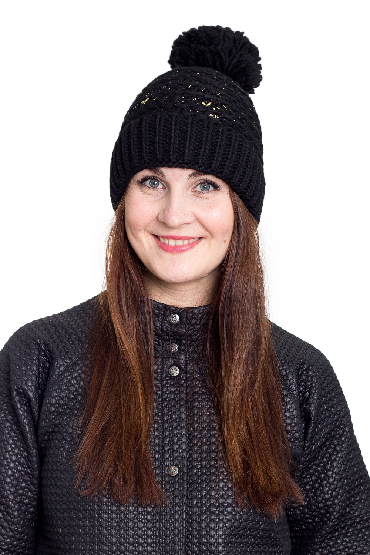 ШапкаШапки<br>Однотонная шапка подарит Вам тепло и комфорт.  Стильный аксессуар защитит Вас от непогоды и станет прекрасным дополнением Вашего образа.  В изделии использованы цвета: черный<br><br>По материалу: Вязаные<br>По рисунку: Однотонные<br>По сезону: Зима,Осень,Весна<br>По элементам: С помпоном<br>Размер : universal<br>Материал: Вязаное полотно<br>Количество в наличии: 1