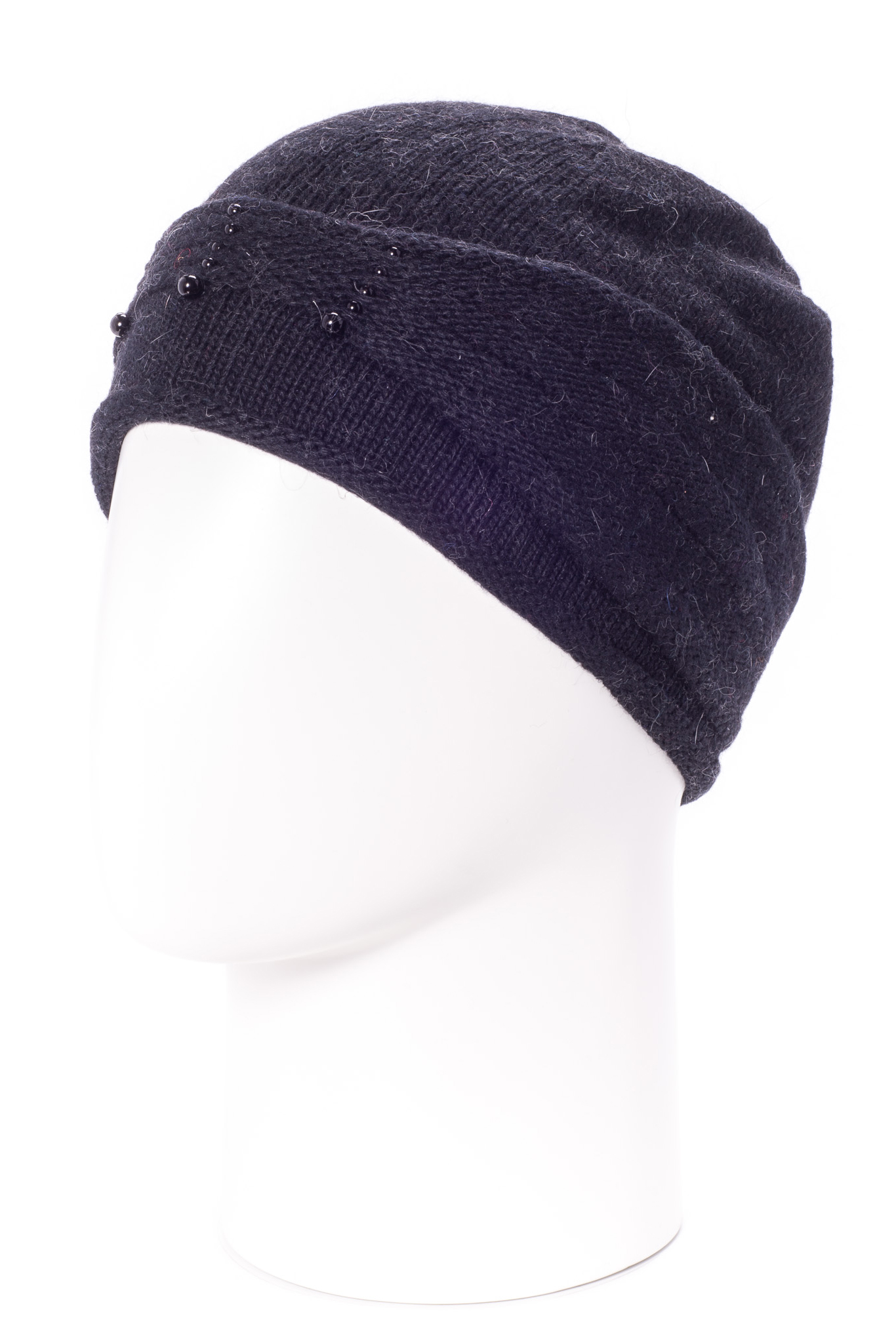 ШапкаШапки<br>Стильная шапка защитит Вас от непогоды и станет прекрасным дополнением Вашего образа.  В изделии использованы цвета: темно-синий<br><br>По материалу: Вязаные<br>По рисунку: Однотонные<br>По элементам: С декором<br>По сезону: Зима<br>Размер : universal<br>Материал: Вязаное полотно<br>Количество в наличии: 1