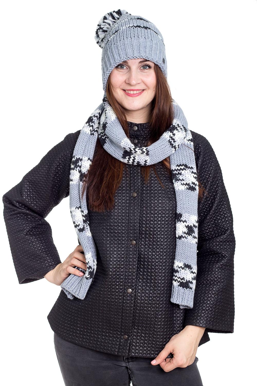 КапорКомплекты<br>Теплый и удобный капор, состоит из сшитых взади шапки и шарфа. Стильный аксессуар защитит Вас от непогоды и станет прекрасным дополнением Вашего образа.  В изделии использованы цвета: серый, черный, белый<br><br>По сезону: Зима<br>Размер : universal<br>Материал: Вязаное полотно<br>Количество в наличии: 1