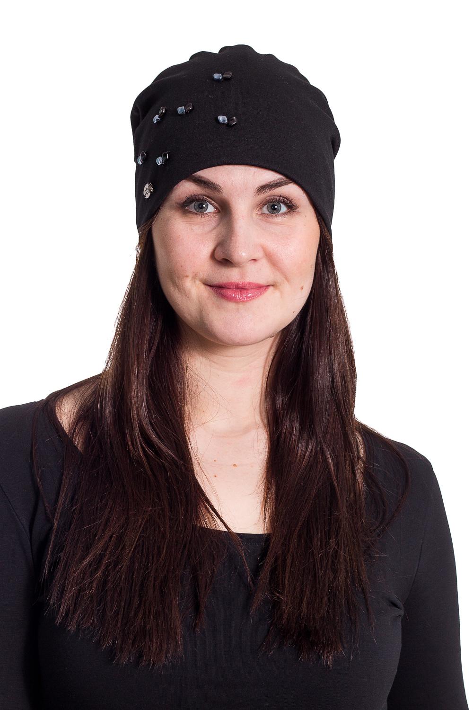 ШапкаШапки<br>Трикотажная шапка мягкой формы с бусинами защитит Вас от непогоды и станет прекрасным дополнением Вашего образа.  В изделии использованы цвета: черный  Размер universal (56-58) равен обхвату головы в сантиметрах  Обхват головы измеряется по лобной части над уровнем бровей (на 2-3 сантиметра выше) и по самой выпуклой затылочной части.<br><br>По материалу: Трикотаж,Шерсть<br>По рисунку: Однотонные<br>По элементам: С декором<br>По сезону: Осень,Весна<br>Размер : universal<br>Материал: Трикотаж<br>Количество в наличии: 2