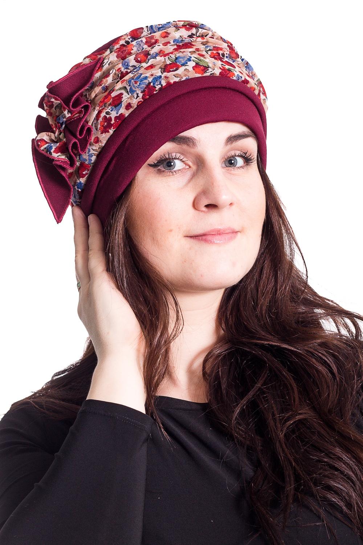ШапкаШапки<br>Стильная шапка на подкладе из флиса защитит Вас от непогоды и станет прекрасным дополнением Вашего образа.  В изделии использованы цвета: бордовый и др.  Размер universal (54-55) равен обхвату головы в сантиметрах  Обхват головы измеряется по лобной части над уровнем бровей (на 2-3 сантиметра выше) и по самой выпуклой затылочной части.<br><br>По рисунку: С принтом,Цветные<br>По элементам: С декором,С подкладом<br>По сезону: Осень,Весна<br>Размер : universal<br>Материал: Костюмная ткань<br>Количество в наличии: 1