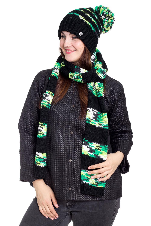 КапорКомплекты<br>Теплый и удобный капор, состоит из сшитых взади шапки и шарфа. Стильный аксессуар защитит Вас от непогоды и станет прекрасным дополнением Вашего образа.  В изделии использованы цвета: черный, зеленый и др.<br><br>По сезону: Зима<br>Размер : universal<br>Материал: Вязаное полотно<br>Количество в наличии: 1
