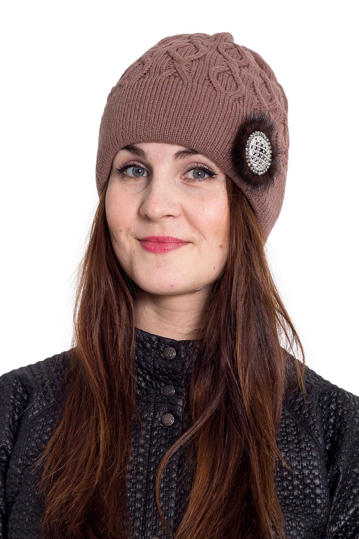 ШапкаШапки<br>Очаровательная шапка подарит Вам тепло и комфорт.  Стильный аксессуар защитит Вас от непогоды и станет прекрасным дополнением Вашего образа.  В изделии использованы цвета: коричневый.<br><br>По материалу: Вязаные<br>По рисунку: Однотонные<br>По сезону: Зима,Осень,Весна<br>По элементам: С декором<br>Размер : universal<br>Материал: Вязаное полотно<br>Количество в наличии: 1