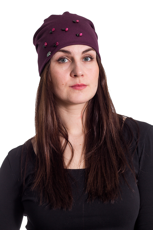 ШапкаШапки<br>Трикотажная шапка мягкой формы с бусинами защитит Вас от непогоды и станет прекрасным дополнением Вашего образа.  В изделии использованы цвета: фиолетово-бордовый  Размер universal (56-58) равен обхвату головы в сантиметрах  Обхват головы измеряется по лобной части над уровнем бровей (на 2-3 сантиметра выше) и по самой выпуклой затылочной части.<br><br>По материалу: Трикотаж,Шерсть<br>По рисунку: Однотонные<br>По элементам: С декором<br>По сезону: Осень,Весна<br>Размер : universal<br>Материал: Трикотаж<br>Количество в наличии: 2