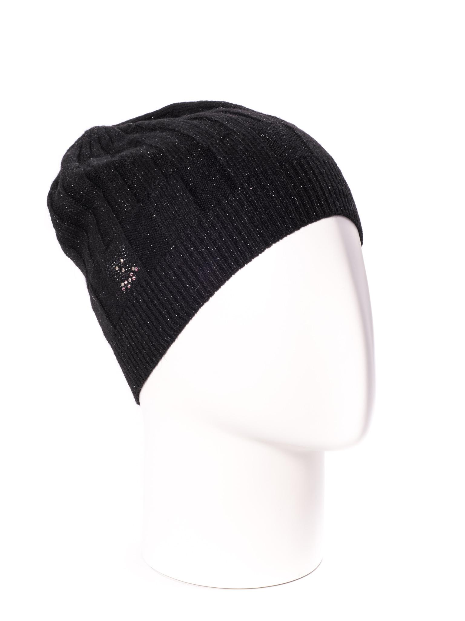ШапкаШапки<br>Однотонная шапка подарит Вам тепло и комфорт.  Стильный аксессуар защитит Вас от непогоды и станет прекрасным дополнением Вашего образа.  В изделии использованы цвета: черный<br><br>По материалу: Вязаные,Трикотаж<br>По рисунку: Однотонные<br>По элементам: С декором<br>По сезону: Осень,Весна<br>Размер : universal<br>Материал: Вязаное полотно<br>Количество в наличии: 1