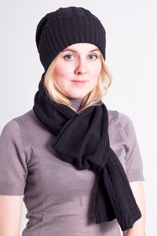 КомплектКомплекты<br>Комплект: шапка, шарф.  Головной убор стандартного размера 56-58 см.  Цвет: черный<br><br>По сезону: Зима<br>Размер : universal<br>Материал: Шерсть<br>Количество в наличии: 1