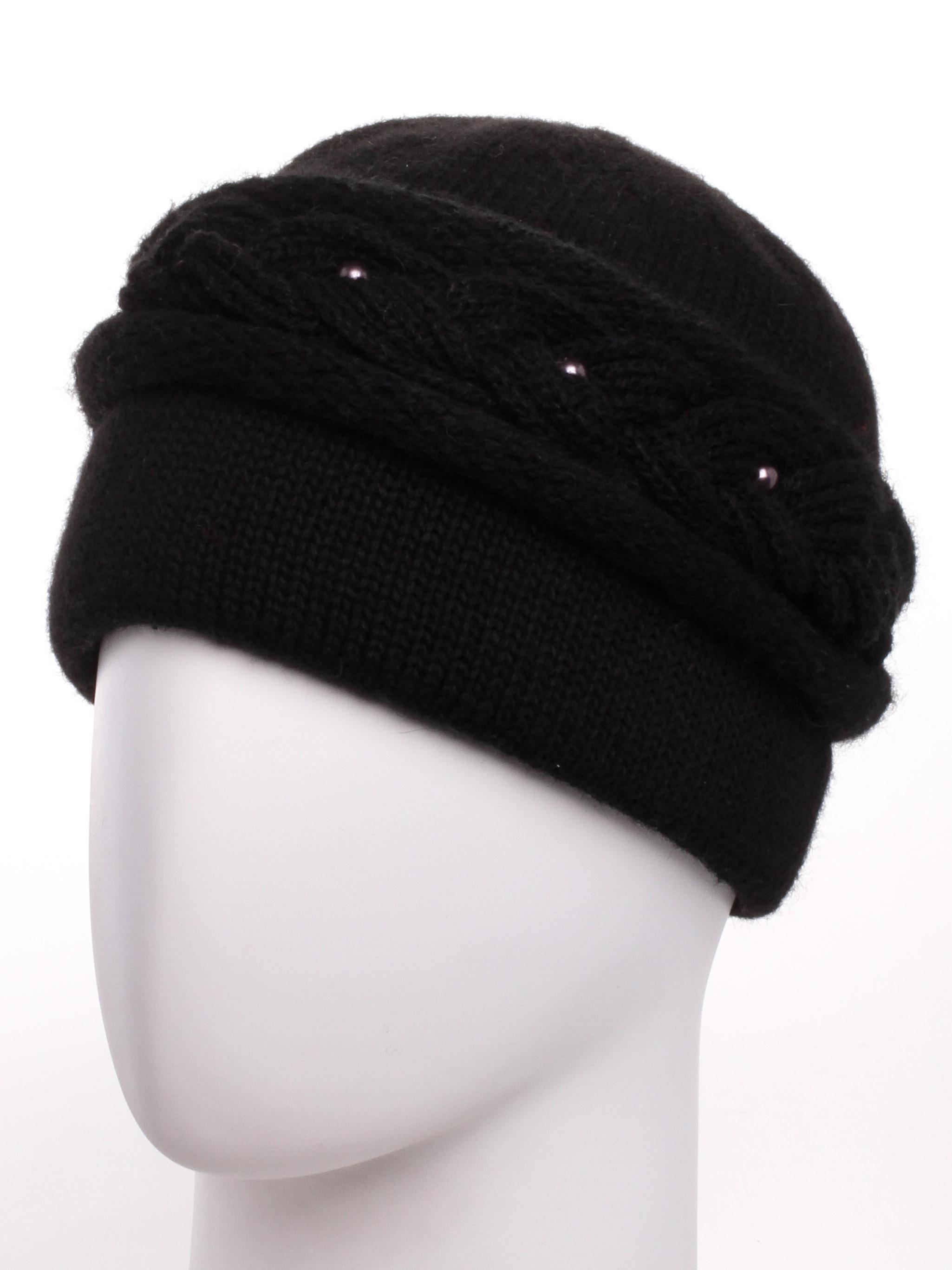 ШапкаШапки<br>Красивая шапка подарит Вам тепло и комфорт.  Стильный аксессуар защитит Вас от непогоды и станет прекрасным дополнением Вашего образа.  Цвет: черный<br><br>По материалу: Вязаные,Трикотаж<br>По рисунку: Однотонные<br>По элементам: С декором<br>По сезону: Зима<br>Размер : universal<br>Материал: Вязаное полотно<br>Количество в наличии: 1