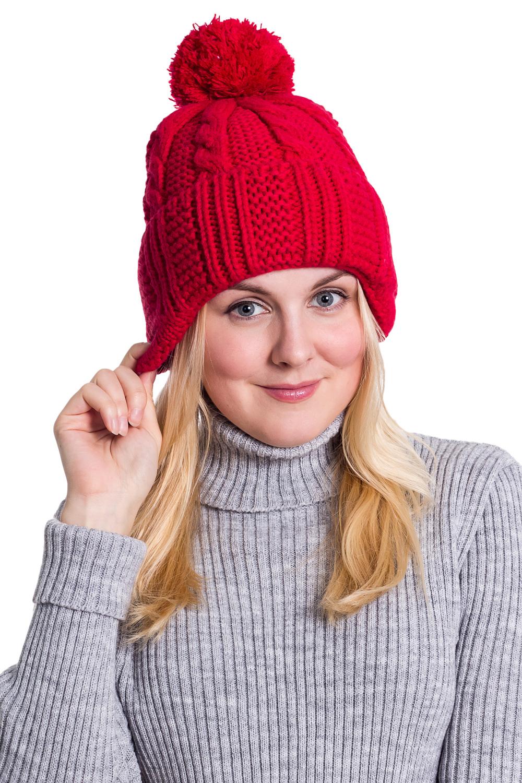 ШапкаШапки<br>Шерстяная шапка подарит Вам тепло и комфорт, а так же подчеркнет Вашу женственность и станет прекрасным дополнением Вашего образа.  Головной убор стандартного размера 56-58 см.  Цвет: красный<br><br>По материалу: Вязаные,Шерсть<br>По рисунку: Однотонные<br>По элементам: С помпоном<br>По сезону: Зима<br>Размер : universal<br>Материал: Вязаное полотно<br>Количество в наличии: 1