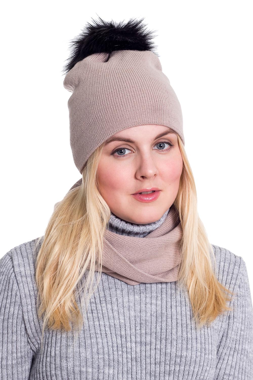 КомплектКомплекты<br>Красивый и теплый комплект. Комплект состоит из шапки и шарфа. Шапка цельновязаная с пумпоном.  Цвет: бежевый  Головной убор стандартного размера 56-58 см.<br><br>По сезону: Осень,Весна<br>Размер : universal<br>Материал: Вязаное полотно<br>Количество в наличии: 2
